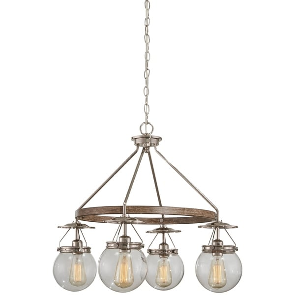 Minka Lavery 4-Light Polished Nickel/Corona Bronze Chandelier