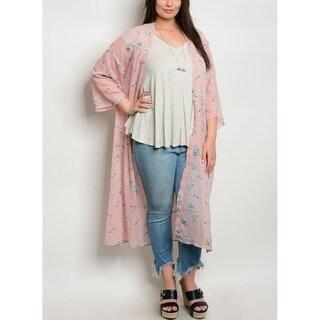 JED Women's Plus Size Floral Maxi Chiffon Kimono Top