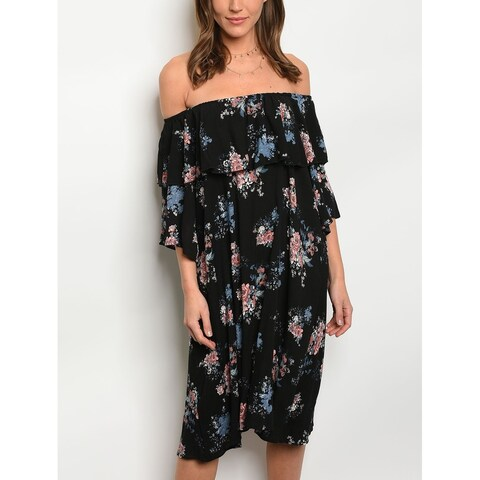 JED Women's Off Shoulder Floral Knee Length Tunic Dress