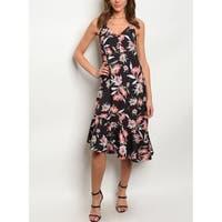 JED Women's Asymmetric Hem Floral Midi Dress
