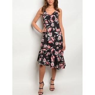JED Women's Asymmetric Hem Floral Midi Dress