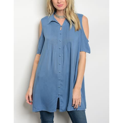 JED Women's Cold Shoulder Flowy Button Down Tunic Top