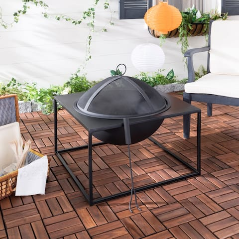 Safavieh Leros Black Square Steel Fire Pit