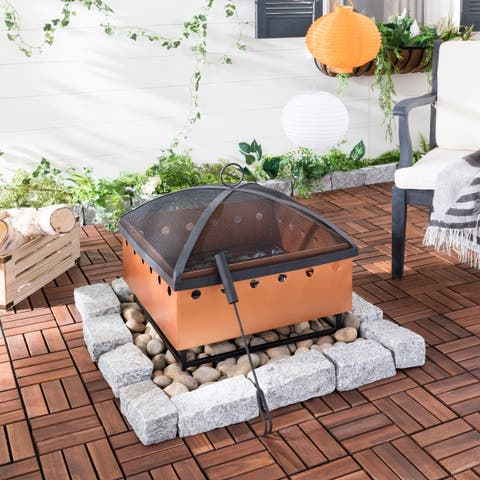 "Safavieh Wyatt Copper/ Black Square Fire Pit - 21"" x 20.8"" x 19.3"""