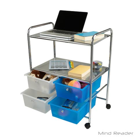 Mind Reader Metal Binding Double Shelf Trolley with 4 Drawers, Multi