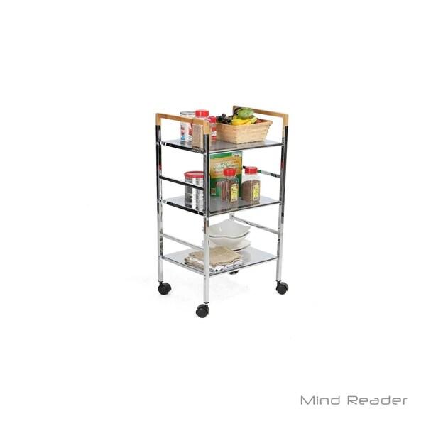 d2679b2febf9 Shop Mind Reader 3 Tier Mobile Metal Top Shelf Cart, Silver - Free ...