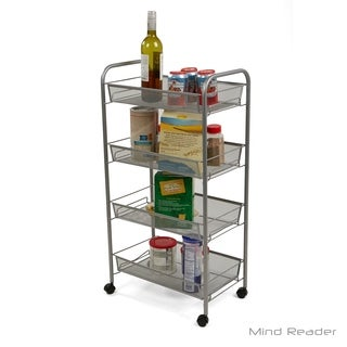 Mind Reader 4 Tier Mobile Office Cart, Silver