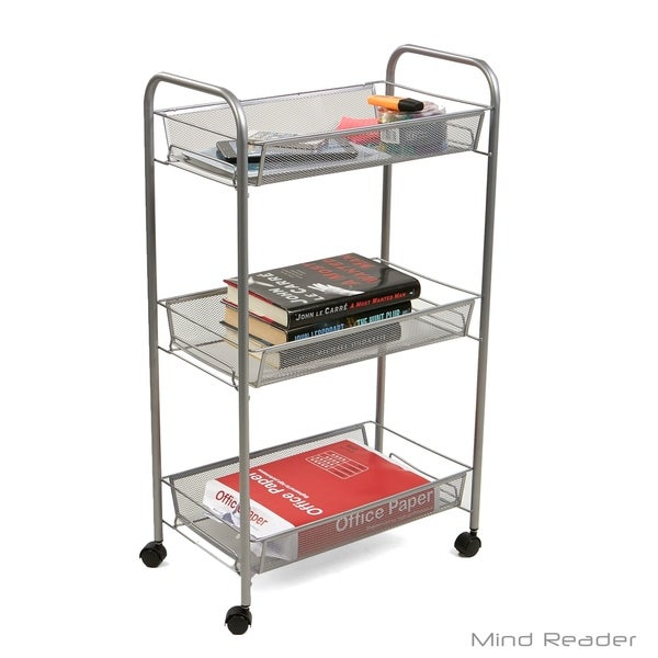 b30ed312e5d0 Shop Mind Reader 3 Tier Mobile Office Cart, Silver - Free Shipping ...