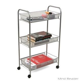 Mind Reader 3 Tier Mobile Office Cart, Silver