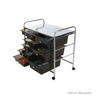 Mind Reader Metal Binding 9 Double Drawer Trolley, Black