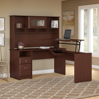 Link to Copper Grove Busiek 60W 3-position L-shaped Sit to Stand Desk with Hutch in Harvest Cherry Similar Items in Desks & Computer Tables