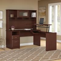 Bush Furniture Cabot 60W 3 Position L Shaped Sit to Stand Desk with Hutch in Harvest Cherry