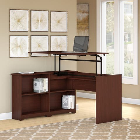 Copper Grove Daintree 52-inch 3-position Sit-to-Stand Corner Bookshelf Desk in Harvest Cherry