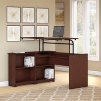 Cabot 52W 3 Position Sit to Stand Corner Bookshelf Desk in Cherry