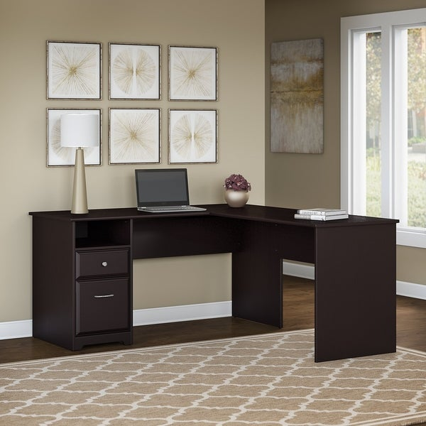 Copper Grove Daintree 60W L-shaped Computer Desk with Drawers in Espresso Oak