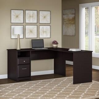Copper Grove Daintree 60W L-shaped Computer Desk with Drawers in Espresso Oak