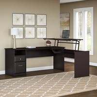 Porch & Den Hale 72W 3-position L-shaped Sit to Stand Desk in Oak
