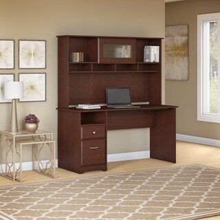 Bush Furniture Cabot 60W Computer Desk with Hutch and Drawers in Harvest Cherry