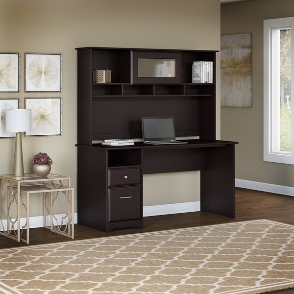 Bush Furniture Cabot 60W Computer Desk With Hutch And Drawers In Espresso  Oak
