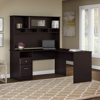 Bush Furniture Cabot 60W L Shaped Computer Desk with Hutch and Drawers in Espresso Oak