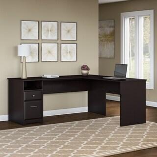 Bush Furniture Cabot 72W L Shaped Computer Desk with Drawers in Espresso Oak
