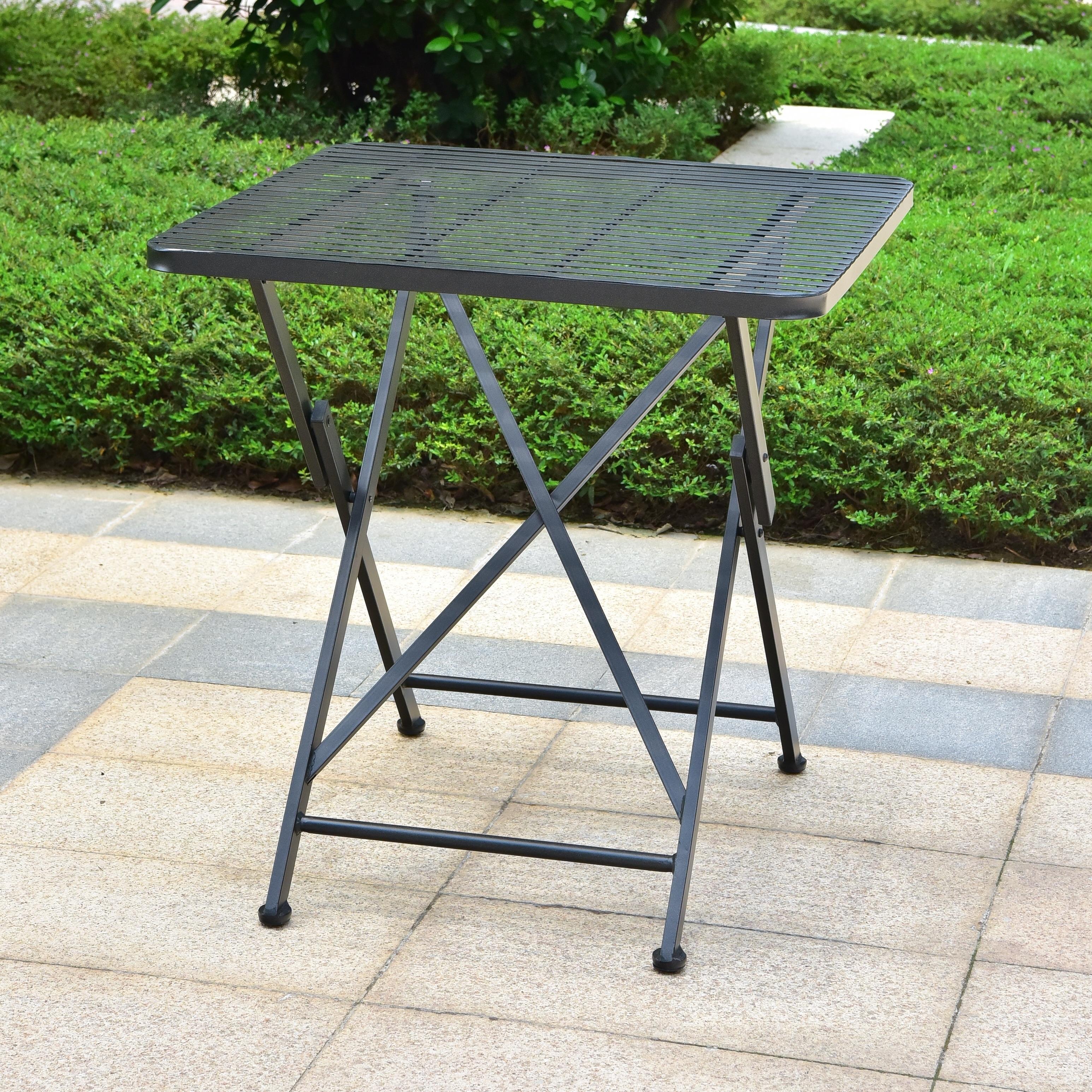 International Caravan Mandalay 28 Inch Folding Patio Bistro Table On Sale Overstock 20525490 Hammered Bronze