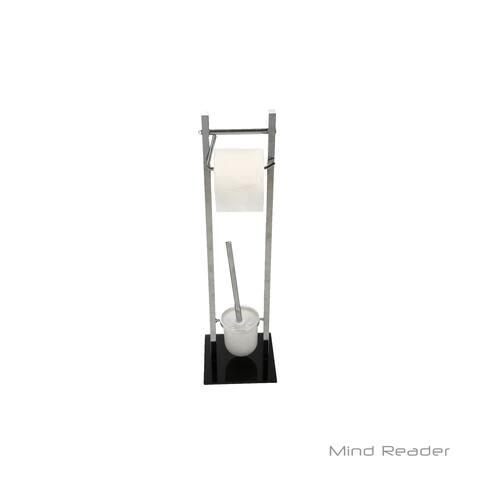 Mind Reader Toilet Paper and Toilet Brush Holder, Silver
