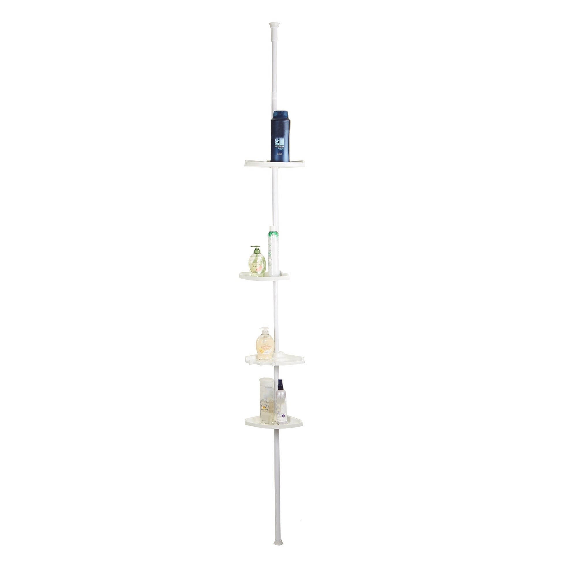 Mind Reader 4 Tier Bathroom Telescopic Corner Shelves Caddy White