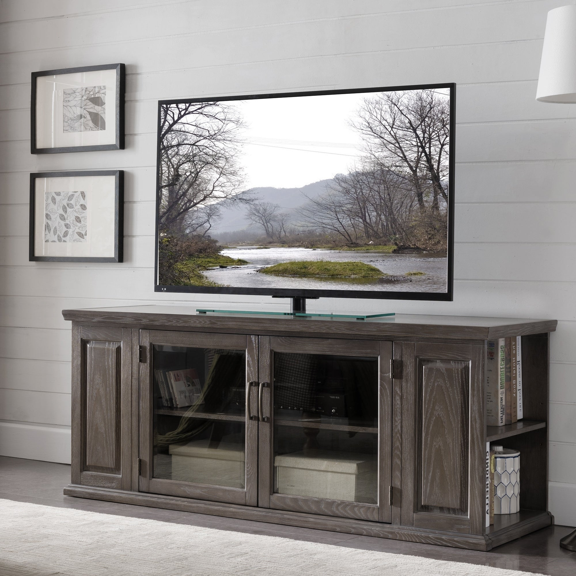 Gray Washed Oak 62 Inch Tv Stand With Bookcase Ends