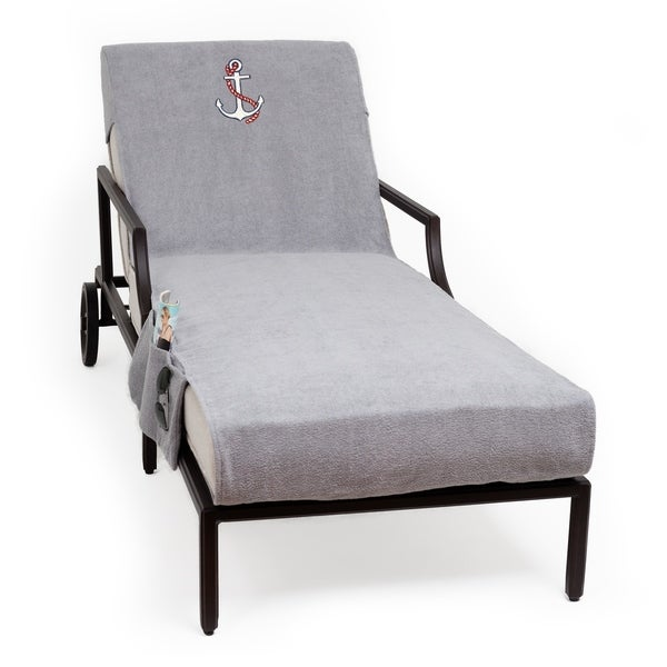 Authentic Turkish Cotton Embroidered Anchor Grey Towel Cover With Pocket  For Standard Chaise Lounge Chair