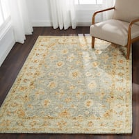 Hand-hooked Traditional Light Blue/ Rust Mosaic Wool Rug (7'9 x 9'9)