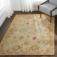 Hand-hooked Traditional Ivory/ Rust Mosaic Wool Rug - 7'9 x 9'9