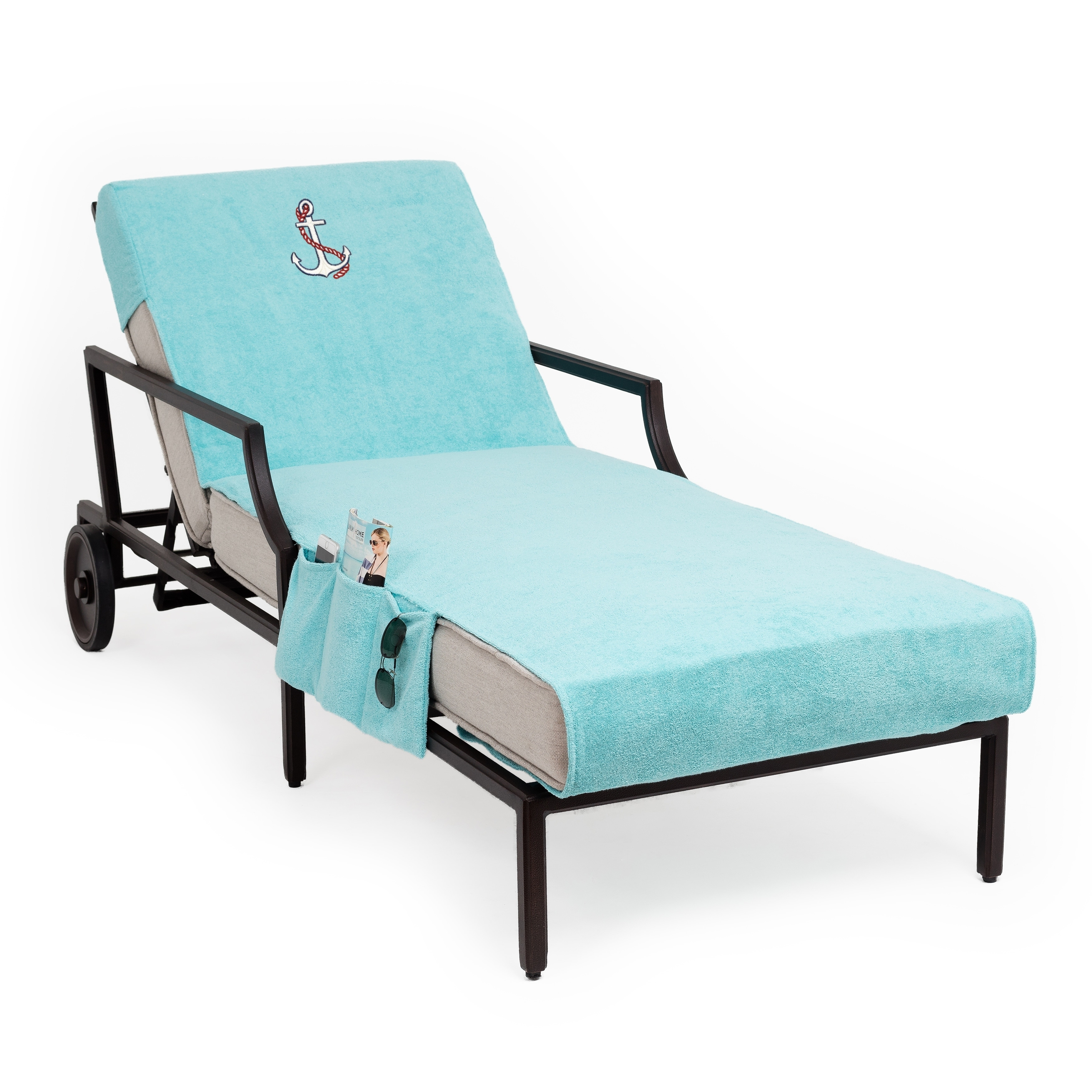 Personalized Chaise Lounge Towels: Authentic Turkish Cotton Embroidered Anchor Aqua Towel