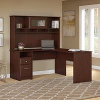 Cabot 60W L Shaped Computer Desk, Hutch & Drawers in Harvest Cherry
