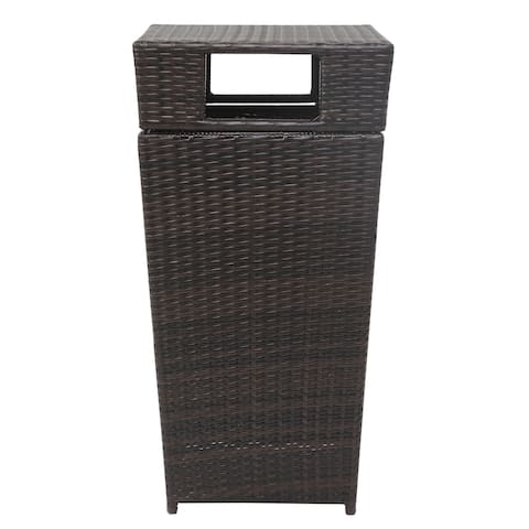 Safavieh Baker Brown Outdoor Wicker Trash Bin