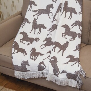 Manual Woodworkers Brown Horses Rayon from Bamboo Woven Decorative Throw