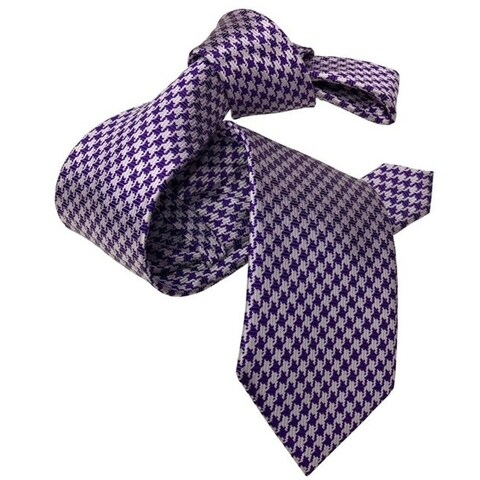 DMITRY Purple Houndstooth Patterned Italian Silk Tie