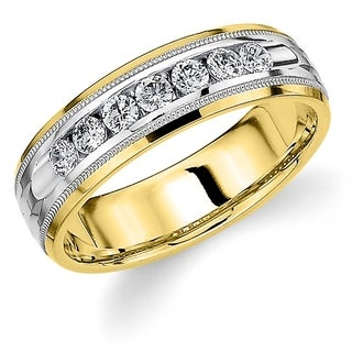 Amore 10K Two Tone Gold Men's .50CT Channel Set Diamond Wedding Band