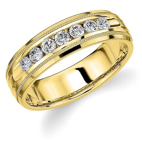 Amore 10K Yellow Gold Men's .50CT Channel Set Diamond Wedding Band