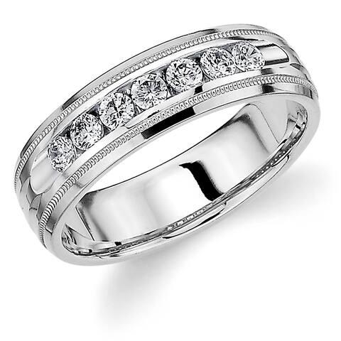 Amore 10K White Gold Men's .50CT TDW Channel Set Diamond Wedding Band