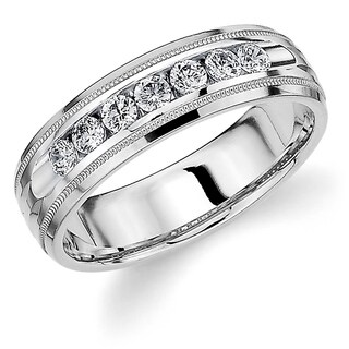 Amore 10K White Gold Men's .50CT TDW Channel Set Diamond Wedding Band