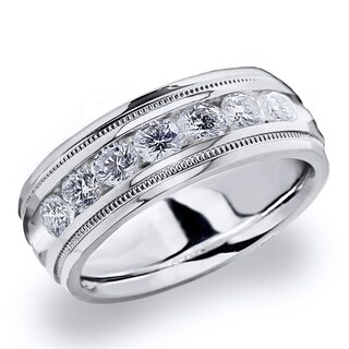 Amore 10K White Gold Men's 1.0 CT TDW Channel Set Diamond Wedding Band