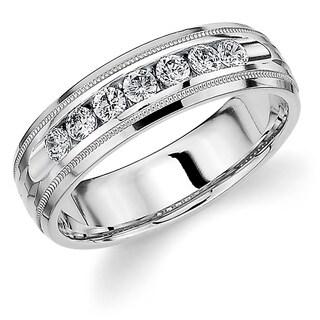 Amore 14K White Gold Men's .50CT TDW Channel Set Diamond Wedding Band