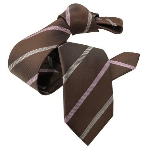 DMITRY Coffee Brown Striped Italian Silk Tie