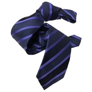 DMITRY Navy with Purple Stripes Italian Silk Tie