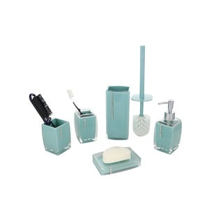 6-Piece Bathroom Set Turquoise With Crystals, Includes Hairbrush Holder, Toothbrush Holder, Toilet Brush Scrubber