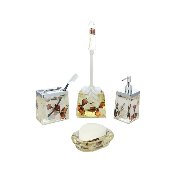 5-Piece Bathroom Set, Brown & White Flowers, Includes Toothbrush Holder, Toilet Brush Scrubber, Soap Dispenser