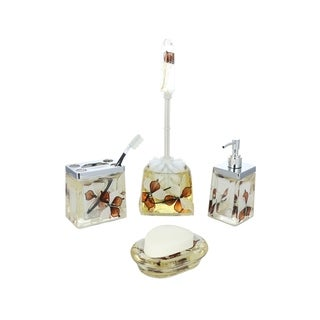5-Piece Bathroom Set, Brown & White Flowers, Includes Toothbrush Holder, Toilet Brush Scrubber, Soap Dispenser