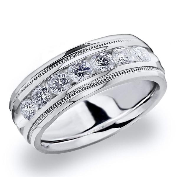 Amore Platinum Men's 1.0 CT TDW Channel Set Diamond Wedding Band. Opens flyout.