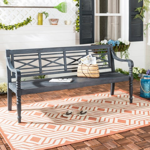 Safavieh Karoo Dark Slate Grey Acacia Bench